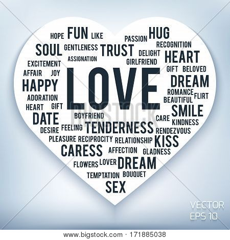 Words of love in shape of heart on white background. Can be used in textiles, wallpaper, posters and postcards