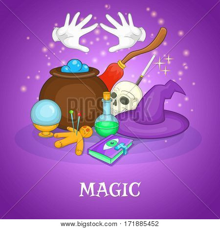 Magician rituals concept set. Cartoon illustration of magician rituals vector concept for web