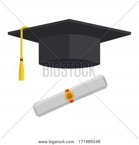 Graduation cap and rolled diploma scroll with stamp. Finish education concept. Flat style vector illustration isolated on white background.