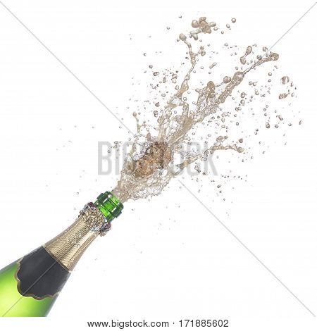 bottle of champagne popping its cork and splashing isolated on white background