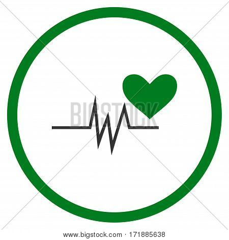 Heart Pulse Signal rounded icon. Vector illustration style is flat iconic bicolor symbol inside circle green and gray colors white background.