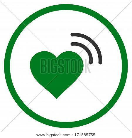 Heart Radio Signal rounded icon. Vector illustration style is flat iconic bicolor symbol inside circle green and gray colors white background.