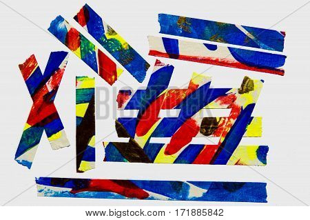 A collection of colorful abstract painted masking tape pieces