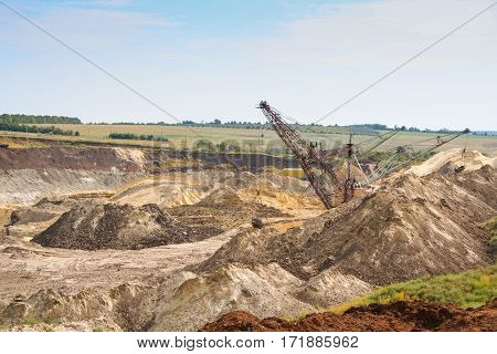 Kaolin quarry near the town of Pology in the Zaporizhya region of Ukraine. Removing the overburden is carried out overburden draglines. September 2005