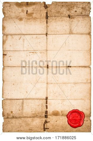 Paper sheet red seal isolated on white background. Used stained paper texture with edges