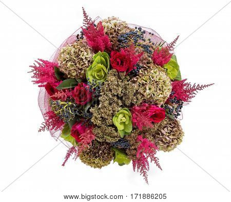 Bouquet of flowers top view on white background