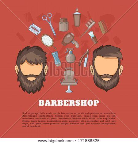 Barbershop tools concept set. Cartoon illustration of barbershop tools vector concept for web