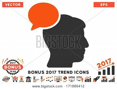 Orange And Gray Person Idea pictogram with bonus 2017 year trend clip art. Vector illustration style is flat iconic bicolor symbols white background.