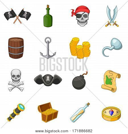Pirate culture symbols icons set. Cartoon illustration of 16 pirate culture symbols vector icons for web