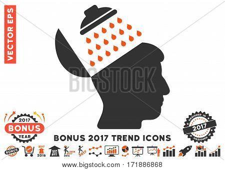Orange And Gray Propaganda Brain Shower pictogram with bonus 2017 trend pictograms. Vector illustration style is flat iconic bicolor symbols white background.