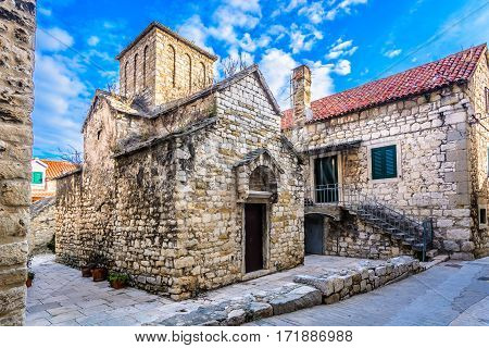 Scenic view at old stone architecture in Dalmatia region, croatian travel places.