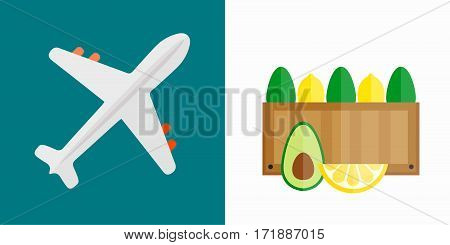Vector illustration of simple vehicle and transport related icons for your design or application. Travel by aircraft flight plane passenger fighter aviation. Tourism vacation speed aeroplane.