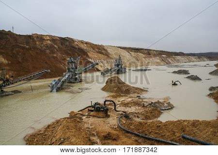 The flooded clay quarry. Clay quarry near the town of Pology in the Zaporizhya region of Ukraine flooded heavy rains. Equipment for mining of refractory clay -excavator rotary electric  . March 2006