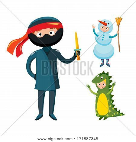 Kids different costumes isolated vector illustration. Dragon crocodile, snowman ninja playful character spooky baby superhero. Children party funny clothes.