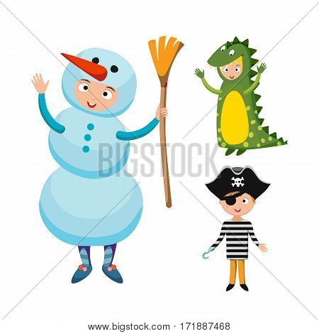 Kids different costumes isolated vector illustration. Dragon crocodile snowman and pirate playful character spooky baby superhero. Children party funny clothes.