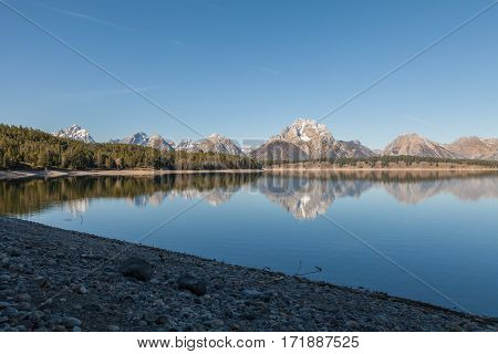 a scenic reflection of the Tetons in Jackson Lake