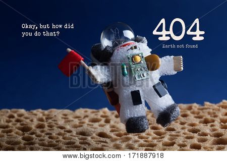 404 error page not found concept. Spaceman astronaut floating stratosphere planet blue sky background. Text Okay but how did you do that.