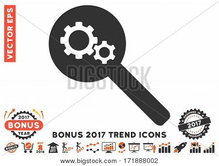Orange And Gray Search Gears Tool pictogram with bonus 2017 year trend elements. Vector illustration style is flat iconic bicolor symbols white background.