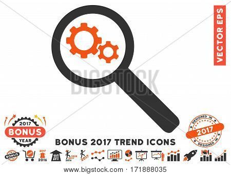 Orange And Gray Search Gears Tool icon with bonus 2017 year trend pictures. Vector illustration style is flat iconic bicolor symbols white background.