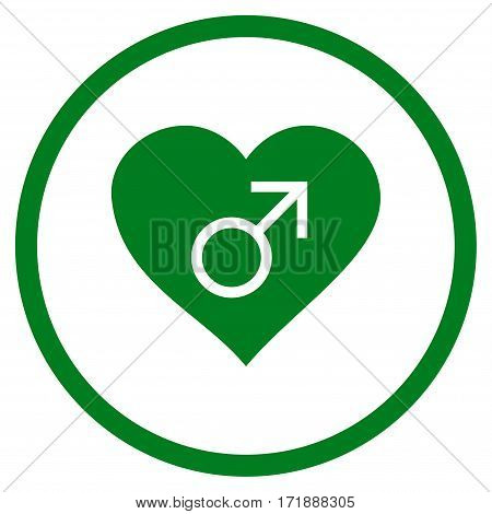 Male Love Heart rounded icon. Vector illustration style is flat iconic bicolor symbol inside circle green and gray colors white background.