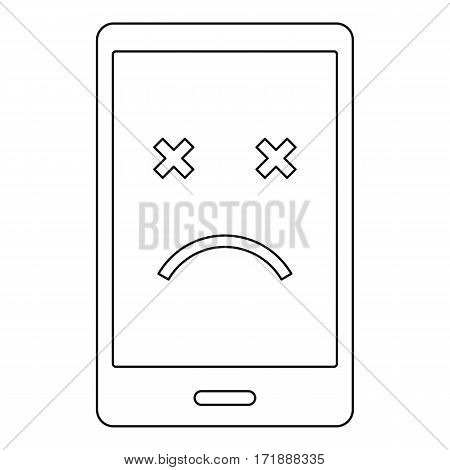 Dead phone icon. Outline illustration of dead phone vector icon for web