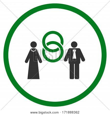 Marriage Persons rounded icon. Vector illustration style is flat iconic bicolor symbol inside circle green and gray colors white background.