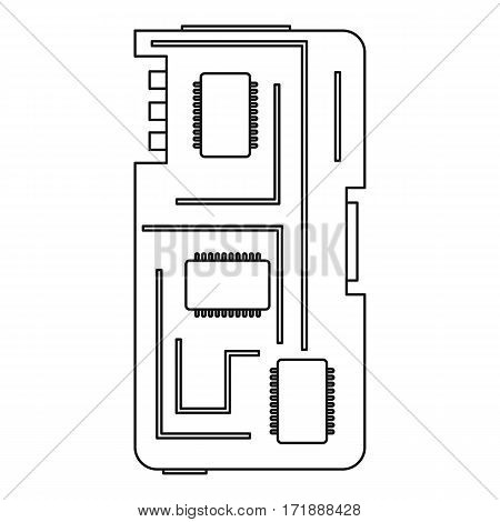 Phone chip icon. Outline illustration of phone chip vector icon for web