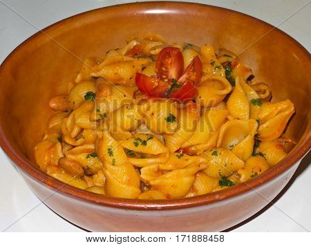 Vegetarian Food - pasta with tomato sauce