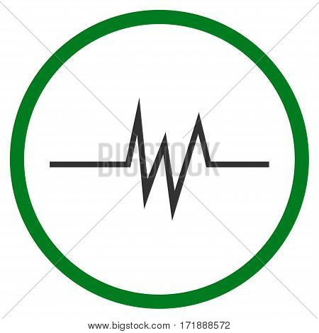 Pulse Signal rounded icon. Vector illustration style is flat iconic bicolor symbol inside circle green and gray colors white background.