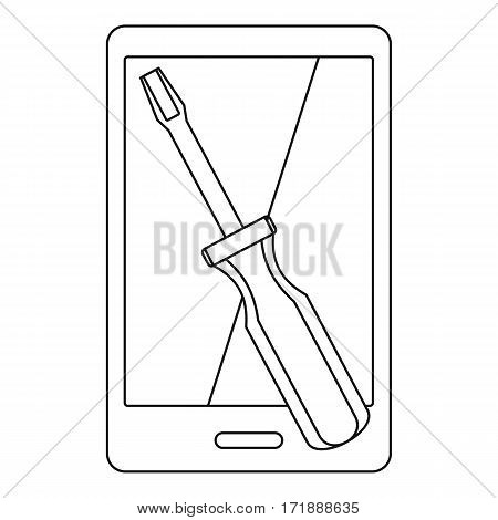 Renovation phone icon. Outline illustration of renovation phone vector icon for web