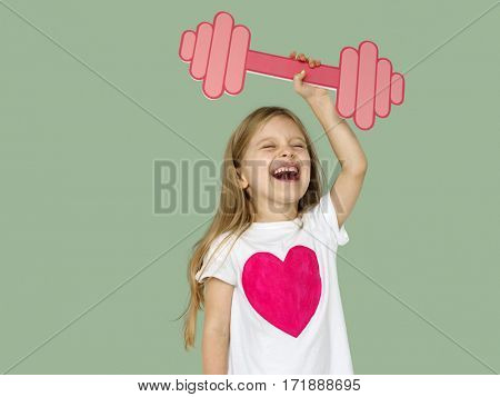Little Girl Lifting Papercraft Dumb Bells