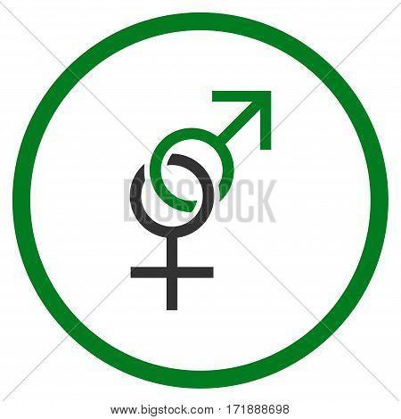 Sex Symbol rounded icon. Vector illustration style is flat iconic bicolor symbol inside circle green and gray colors white background.
