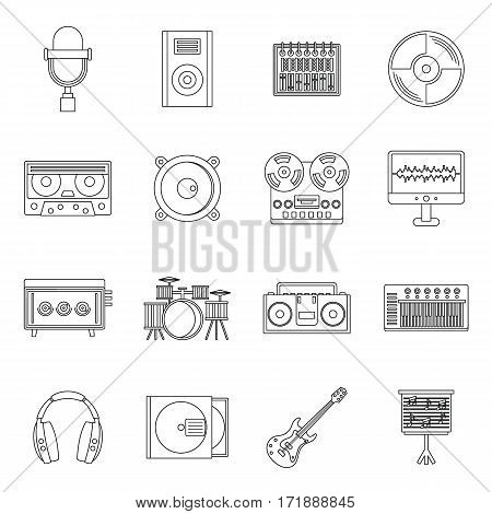 Recording studio items icons set. Outline illustration of 16 recording studio items vector icons for web