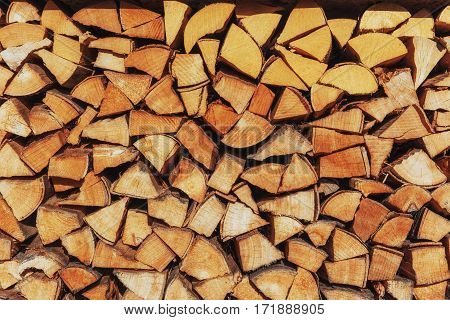 Background of firewood harvested for the new heating season.