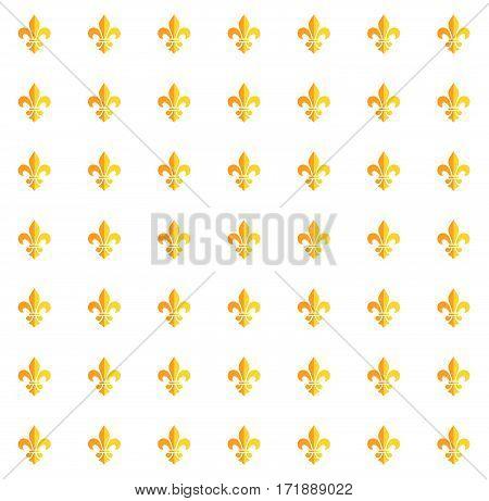 Gold fleur-de-lis isolated decorative pattern design. Mardi Gras Carnival gold pattern with fleur-de-lis symbol. Endless background, texture, wrapper. Vector illustration. Vintage ornament