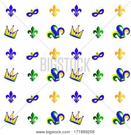 Carnival, Festival, Masquerade decorative pattern design. Mardi Gras Carnival pattern with fleur-de-lis, crown, carnival mask. Mardi Gras endless background, texture, wrapper. Vector illustration. Vintage ornament