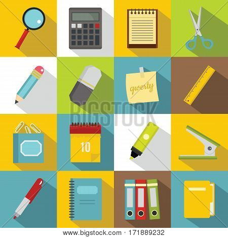 Stationery symbols icons set. Flat illustration of 16 stationery symbols vector icons for web