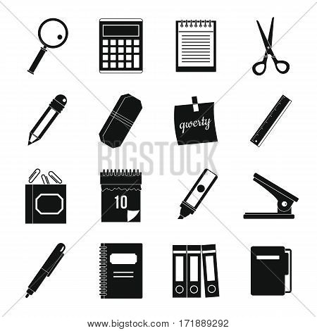 Stationery symbols icons set. Simple illustration of 16 stationery symbols vector icons for web