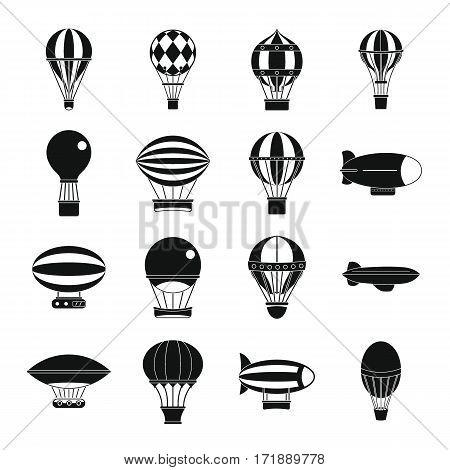 Retro balloons aircraft icons set. Simple illustration of 16 retro balloons aircraft vector icons for web