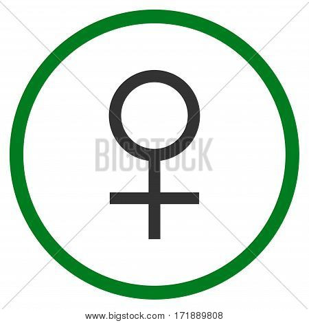 Venus Female Symbol rounded icon. Vector illustration style is flat iconic bicolor symbol inside circle green and gray colors white background.