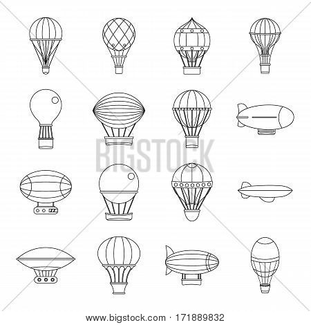 Retro balloons aircraft icons set. Outline illustration of 16 retro balloons aircraft vector icons for web