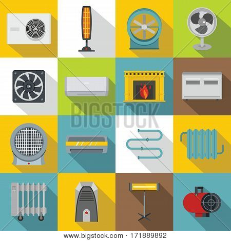 Heating cooling air icons set. Flat illustration of 16 heating cooling air vector icons for web