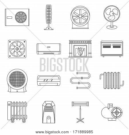 Heating cooling air icons set. Outline illustration of 16 heating cooling air vector icons for web