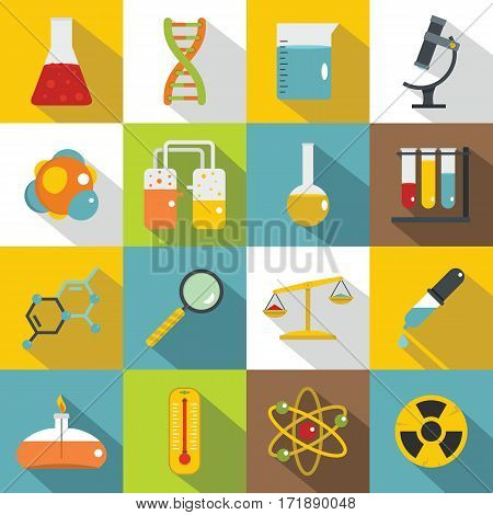 Chemical laboratory icons set. Flat illustration of 16 chemical laboratory vector icons for web