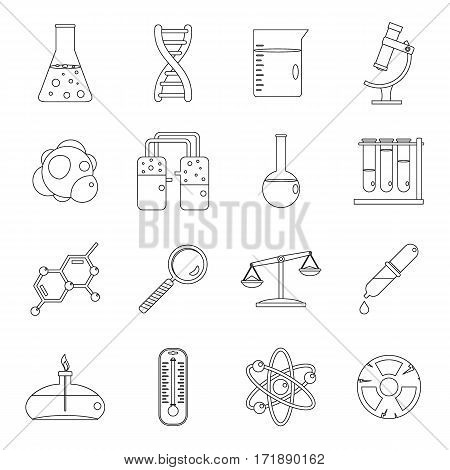 Chemical laboratory icons set. Outline illustration of 16 chemical laboratory vector icons for web