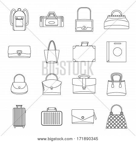 Bag baggage suitcase icons set. Outline illustration of 16 bag baggage suitcase vector icons for web