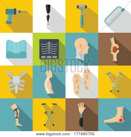 Orthopedics prosthetics icons set. Flat illustration of 16 orthopedics prosthetics vector icons for web