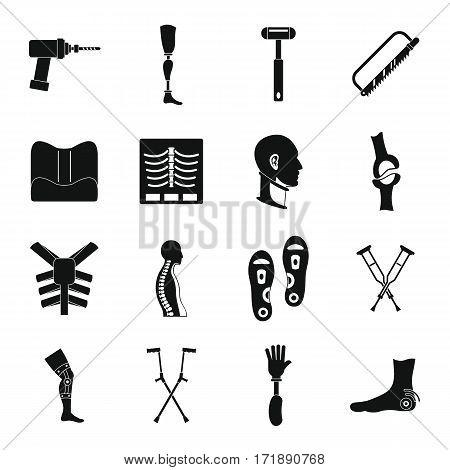 Orthopedics prosthetics icons set. Simple illustration of 16 orthopedics prosthetics vector icons for web