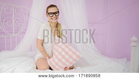 Young Girl Having Fun In Bed.