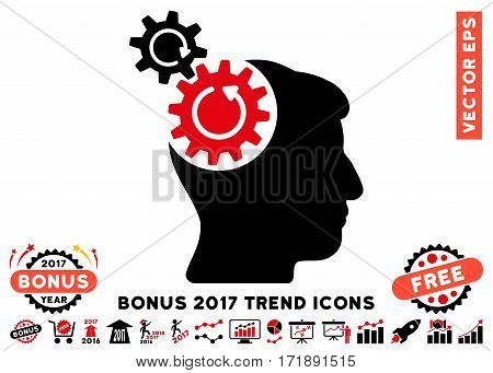 Intensive Red And Black Head Cogs Rotation pictograph with bonus 2017 year trend elements. Vector illustration style is flat iconic bicolor symbols white background.
